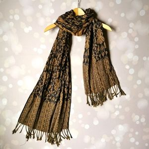 Paisley brown and black scarf with fringe